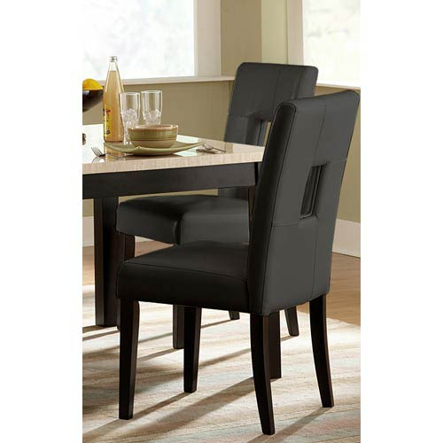 Black Keyhole Back Side Chairs, Set of Two